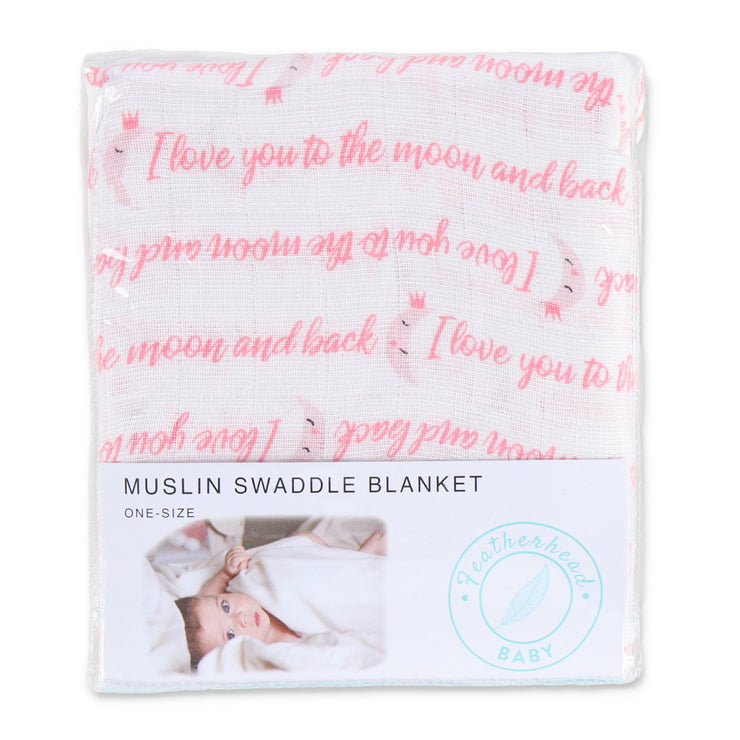 "FS-59 Muslin Swaddle Blanket 44"" x 44"" - I love you to the moon & back - Featherhead Baby"