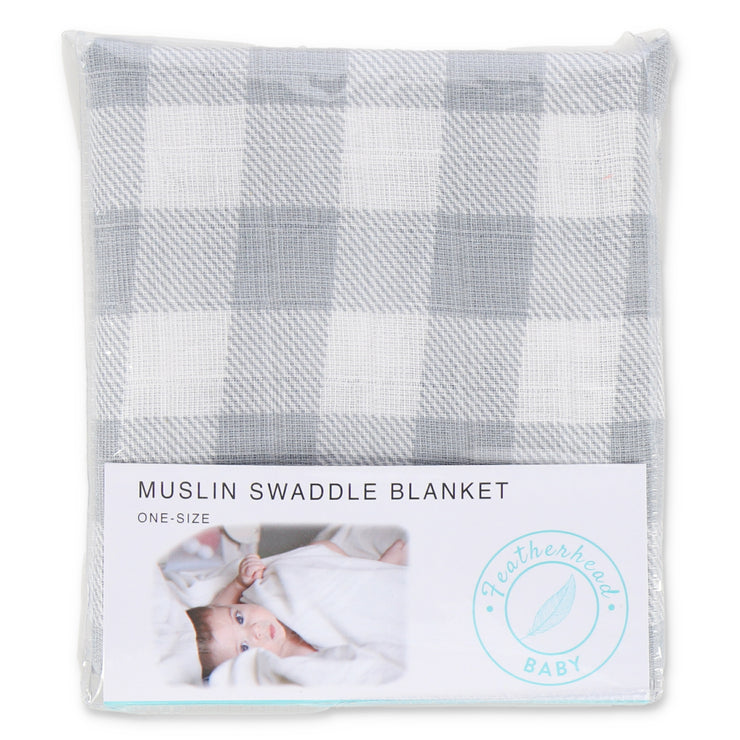 "Muslin Swaddle Blanket 44"" x 44"" - Grey Boxes - Featherhead Baby"