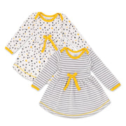 FN-6004 White Star & Grey Stripe 2PK Full-Sleeves Dress - Featherhead Baby