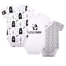 "Load image into Gallery viewer, FS-124 Baby Boy 3-Pack Bodysuit/Romper - ""Little Panda"" Print with Polka Dot & Bear Print - Featherhead Baby"