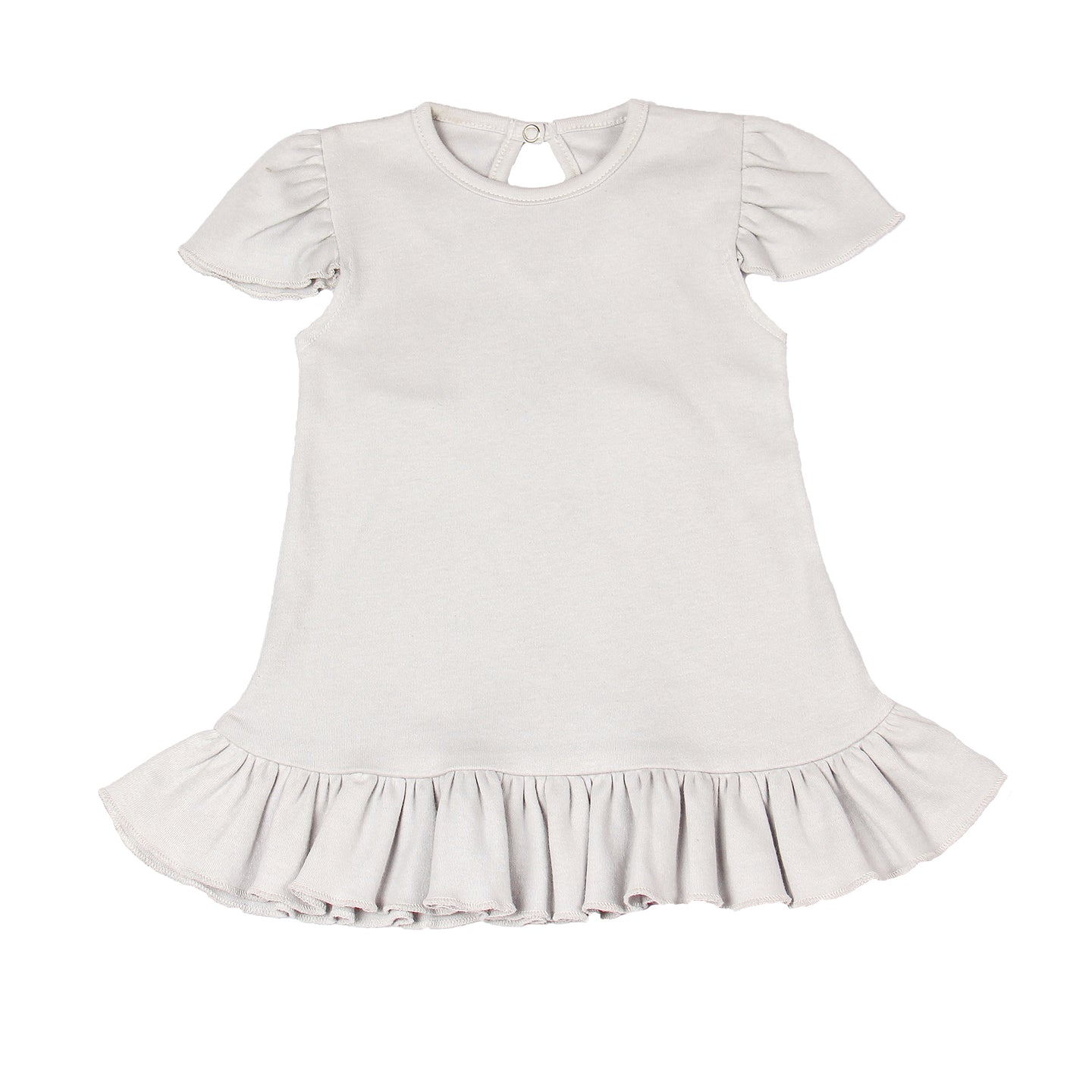 FH-5019 - Baby Girl Dress - Bottom Frill Solid Grey - Featherhead Baby
