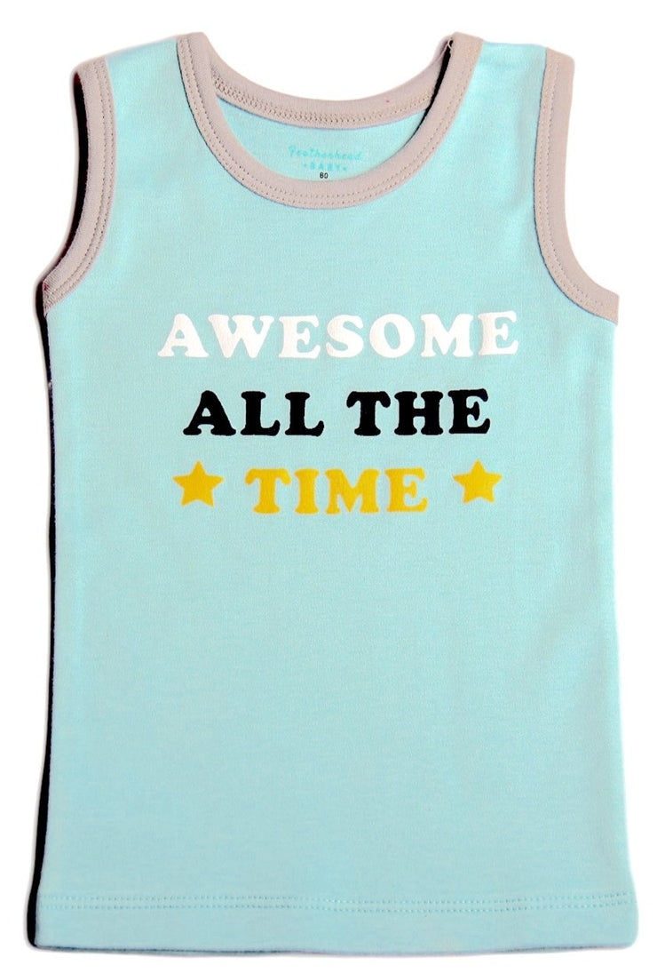 FB-3504 Baby Boy 2-Pack Tank Tops - Captain Cool & Awesome All The Time - Featherhead Baby