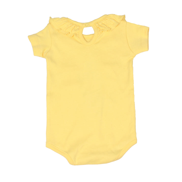 FS-135 Baby Girl Bodysuit/Romper - Frill On Neck Yellow Solid - Featherhead Baby