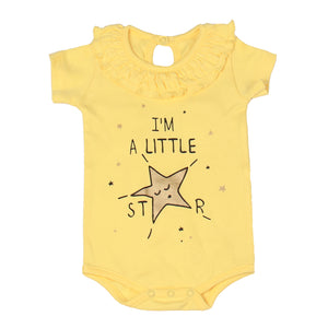 "FS-132 Baby Girl Bodysuit/Romper - Frill On Neck ""I'M A LITTLE STAR"" Print - Featherhead Baby"