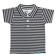 FS-27 Navy Stripe Polo & Grey Alloy Shorts - Featherhead Baby
