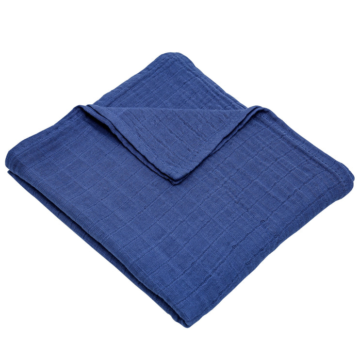 "FS-52 Accessories for Baby Boy & Baby Girl Swaddle Blanket 44"" x 44"" - Navy Blue Solid - Featherhead Baby"