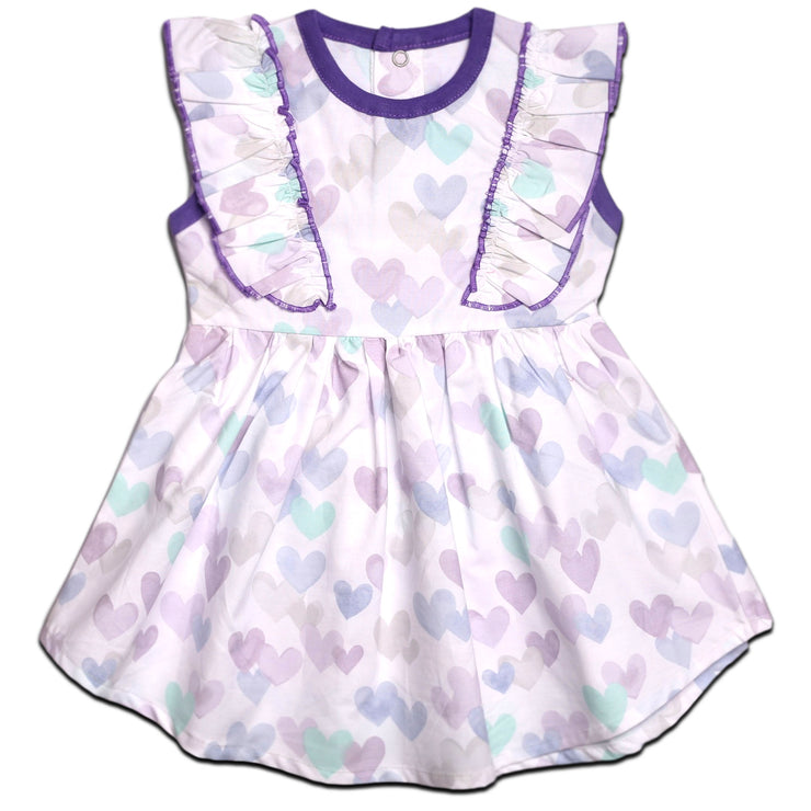 FS-93 Purple Hearts Sleeveless Dress - Featherhead Baby