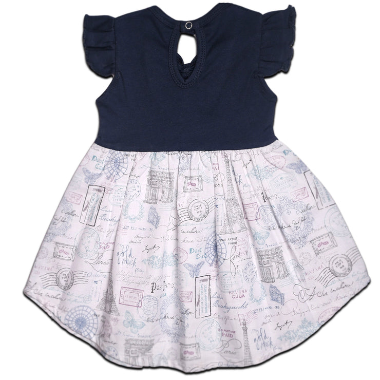 FS-3 Baby Girl Dress with Flutter Sleeves - Navy Paris Print - Featherhead Baby