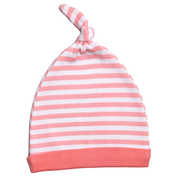 FG-8501 Accessories for Baby Girl 2-Pack Caps - Pink Stripe & Cats - Featherhead Baby
