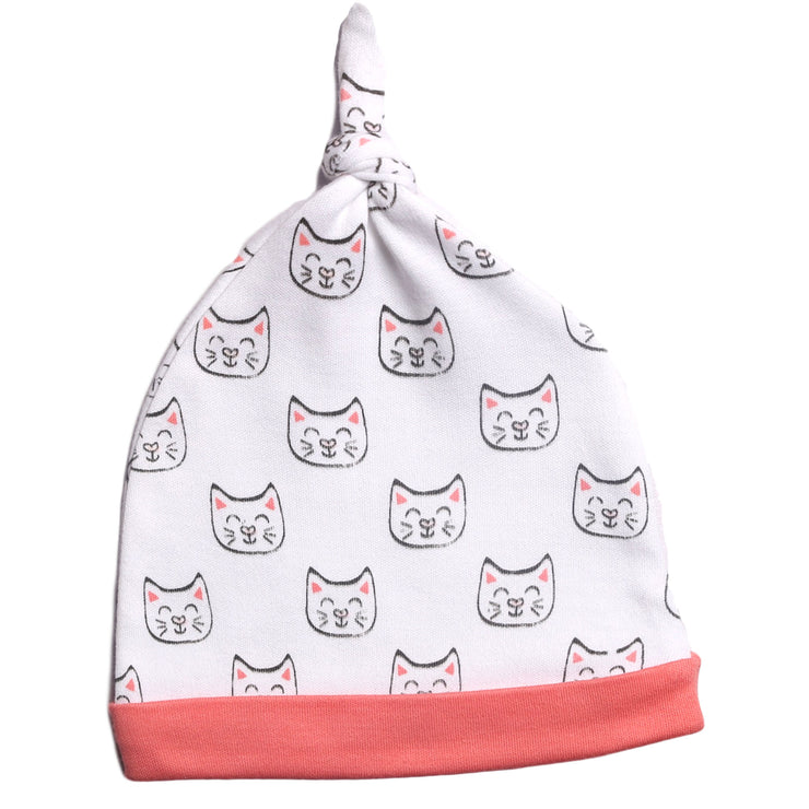 FG-8501 2-Pack Caps Pink Stripe & Cats - Featherhead Baby