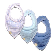 FS-1 Accessories for Baby Boy 3-Pack Muslin Milky Bibs on Clearance - Blue Stripe, Navy, and Blue Solid - Featherhead Baby