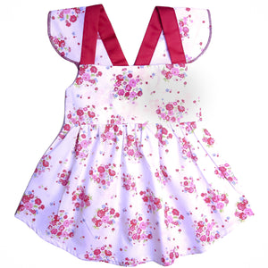 FS-63 Baby Girl Sleeveless Dress - Floral Print with Purple Bow - Featherhead Baby