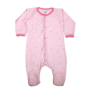 FH-7002 - Baby Girl Full Zippered Sleeper - Pink & White Hearts Print - Featherhead Baby