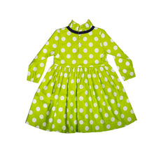 Load image into Gallery viewer, FH-5506 - Baby Girl Full-Sleeves Dress - Green Polka Dot Print - Featherhead Baby