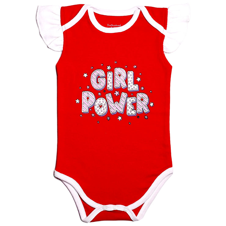"FS-97 Baby Girl Bodysuit/Romper - ""Girl Power"" Print - Featherhead Baby"
