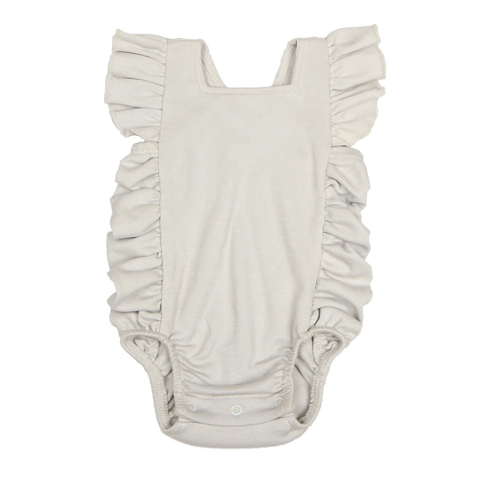 FH-5001 - Baby Girl Bodysuit/Romper - Cross-Over Frill Grey Solid - Featherhead Baby