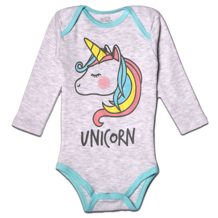 "FS-121 Baby Girl Bodysuit/Romper - Grey ""Unicorn"" Print - Featherhead Baby"