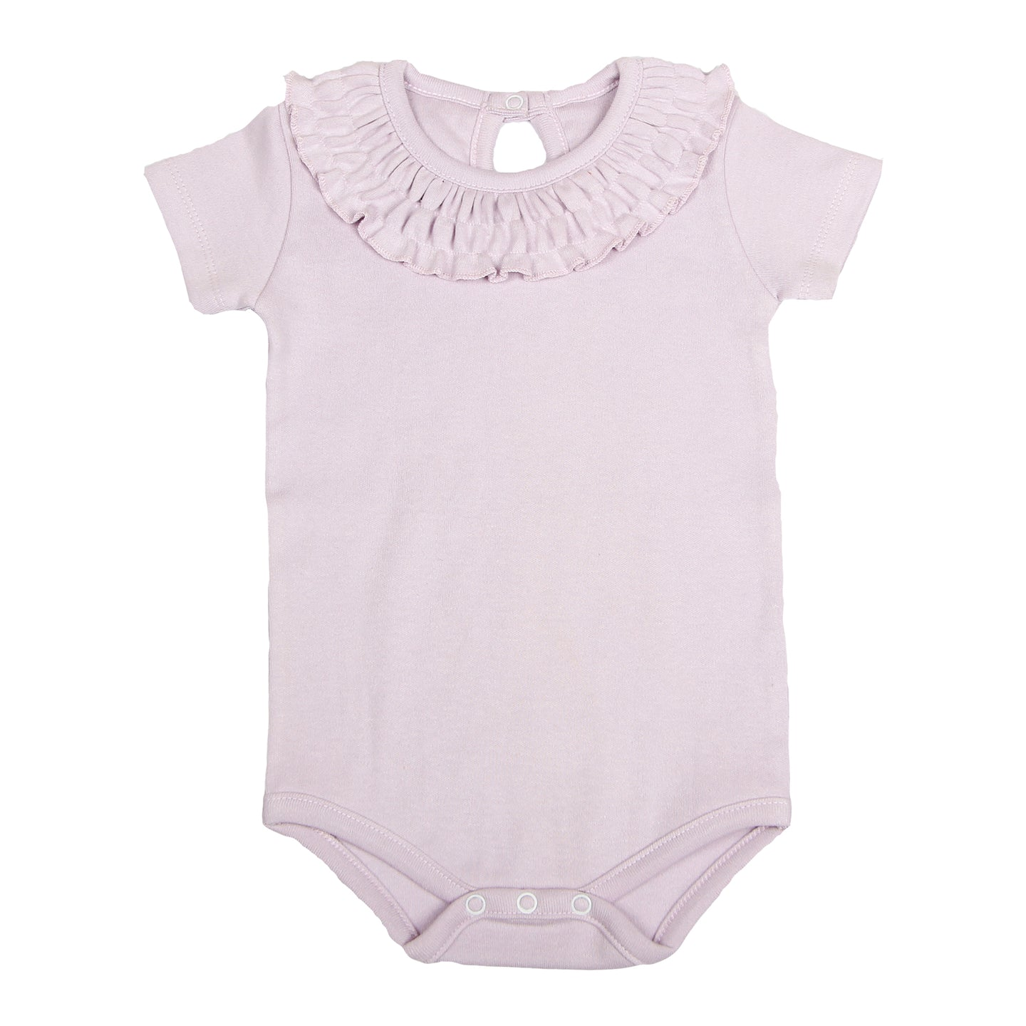 FH-5012 - Baby Girl Bodysuit/Romper - Frill On Neck Purple Solid