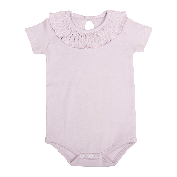 FS-136 Baby Girl Bodysuit/Romper - Frill On Neck Purple Solid - Featherhead Baby