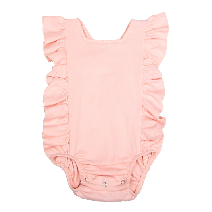 FS-130 Baby Girl Bodysuit/Romper - Cross-Over Frill Baby Pink Solid - Featherhead Baby