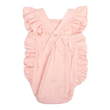 Load image into Gallery viewer, FS-130 Baby Girl Bodysuit/Romper - Cross-Over Frill Baby Pink Solid - Featherhead Baby
