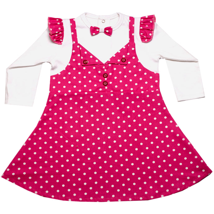 FH-5507 - Baby Girl Full-Sleeves Dress - Purple Polka Dot Print with Bow - Featherhead Baby
