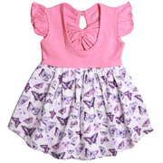 FS-65 Baby Girl Dress with Flutter Sleeves - Butterfly Print - Featherhead Baby