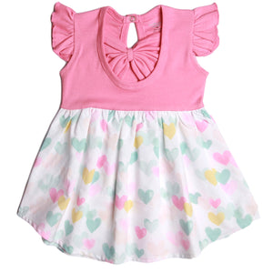 FS-64 Baby Girl Dress with Flutter Sleeves - Hearts Print - Featherhead Baby