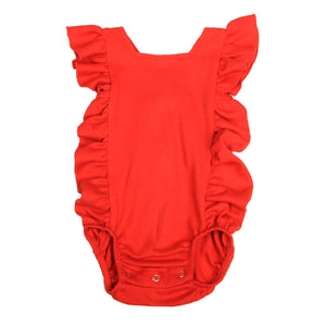 FS-131 Baby Girl Bodysuit/Romper - Cross-Over Frill Red Solid - Featherhead Baby
