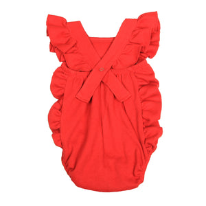 FH-5003 - Baby Girl Bodysuit/Romper - Cross-Over Frill Red Solid