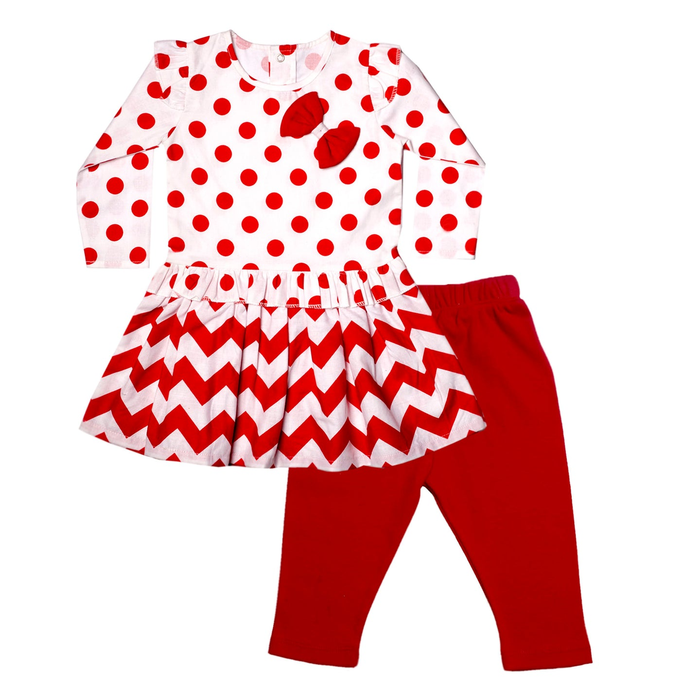 FS-83 Baby Girl 2-Piece Full-Sleeves Dress with Pants - Red Polka Dots Print - Featherhead Baby