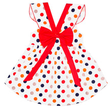 Load image into Gallery viewer, FS-90 Baby Girl Sleeveless Dress - Polka Dot Print with Red Bow - Featherhead Baby