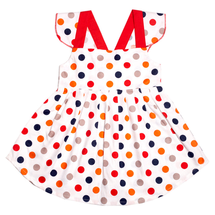 FH-5505 - Baby Girl Sleeveless Dress - Polka Dot Print with Red Bow - Featherhead Baby
