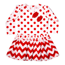 Load image into Gallery viewer, FS-83 Baby Girl 2-Piece Full-Sleeves Dress with Pants - Red Polka Dots Print - Featherhead Baby