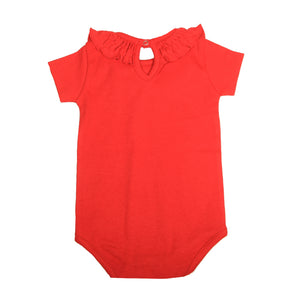 FH-5010 - Baby Girl Bodysuit/Romper - Frill On Neck Red Solid - Featherhead Baby