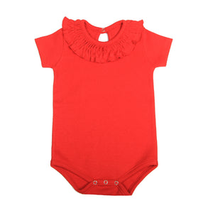 FS-134 Baby Girl Bodysuit/Romper - Frill On Neck Red Solid - Featherhead Baby