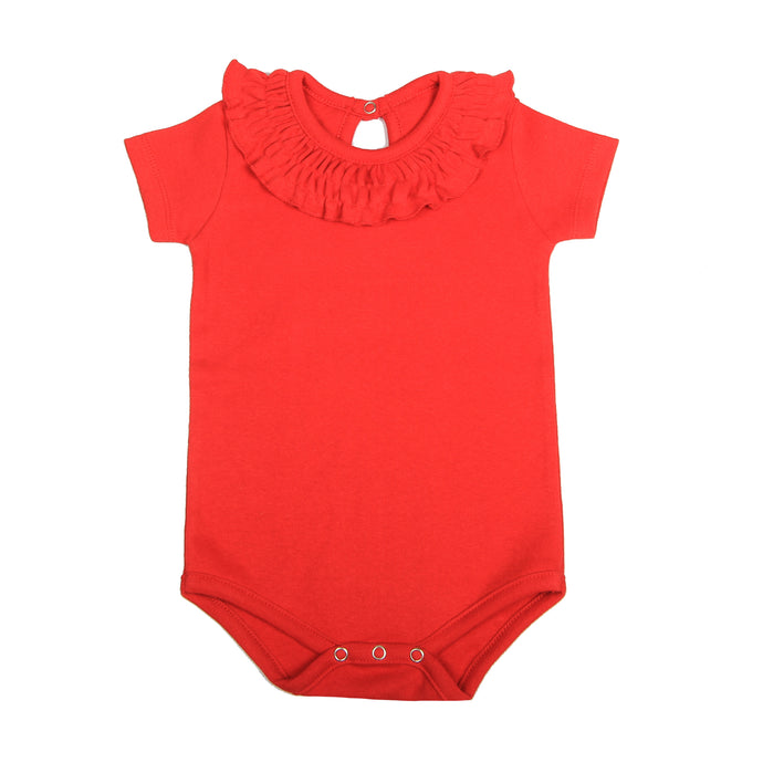 FH-5010 - Baby Girl Bodysuit/Romper - Frill On Neck Red Solid