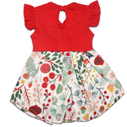FS-85 Baby Girl Dress with Flutter Sleeves - Cherry Print - Featherhead Baby