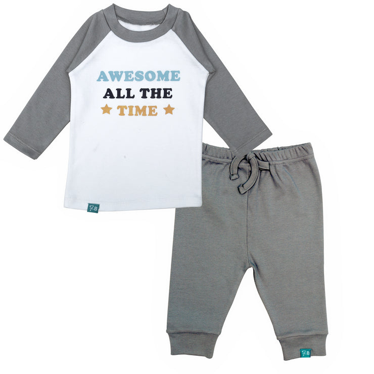 FS-24 White Awesome All The Time Shirt & Grey Alloy Pants - Featherhead Baby