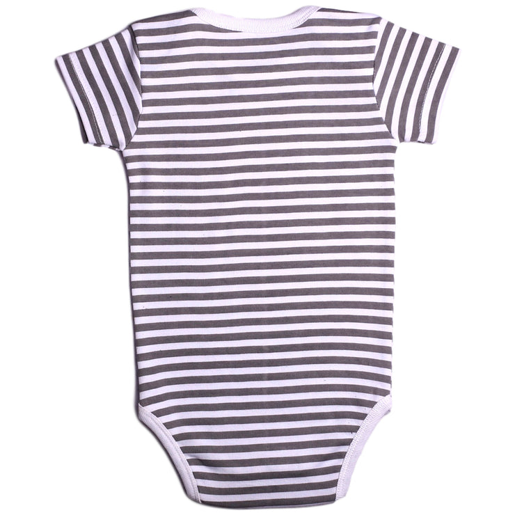 FN-2002 Baby Boy & Baby Girl Romper - Grey Stripe with Star Print - Featherhead Baby