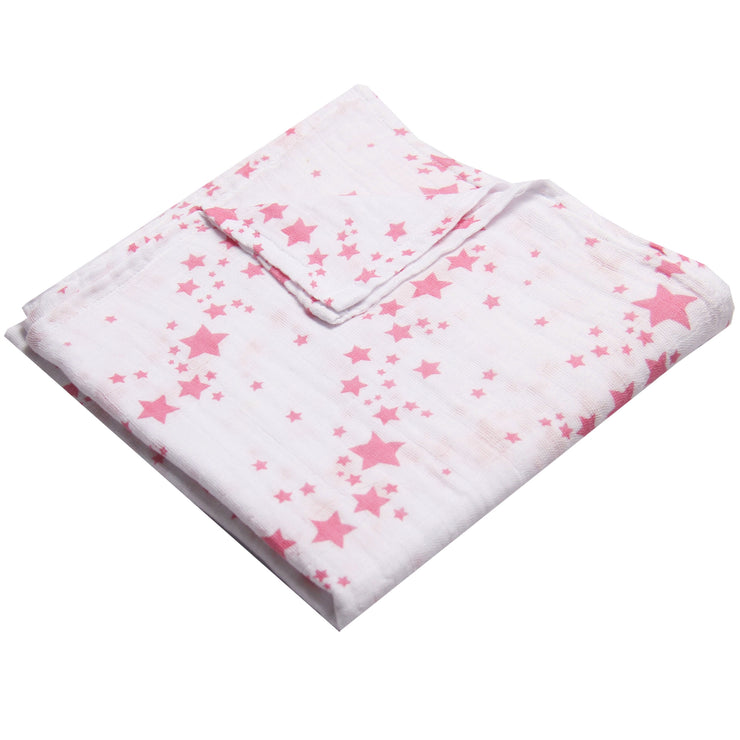 "FS-61 Accessories for Baby Girl Swaddle Blanket 44"" x 44"" - Pink Stars - Featherhead Baby"