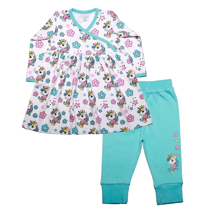 FH-4500 - Baby Girl 2-Piece Dress & Pant Set - Unicorn and Floral Print - Featherhead Baby