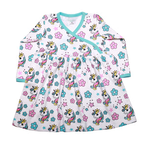 FS-128 Baby Girl 2-Piece Dress & Pant Set - Unicorn and Floral Print - Featherhead Baby