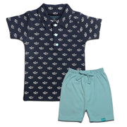 FB-3503 Baby Boy Polo & Shorts - Navy Sailboat & Canal Blue Shorts - Featherhead Baby
