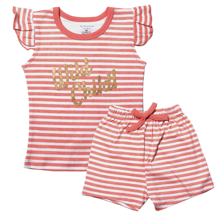 FG-3001 Pink Stripe Top & Shorts - Featherhead Baby