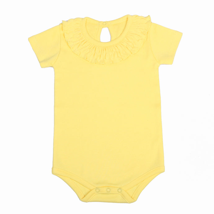 FH-5011 - Baby Girl Bodysuit/Romper - Frill On Neck Yellow Solid
