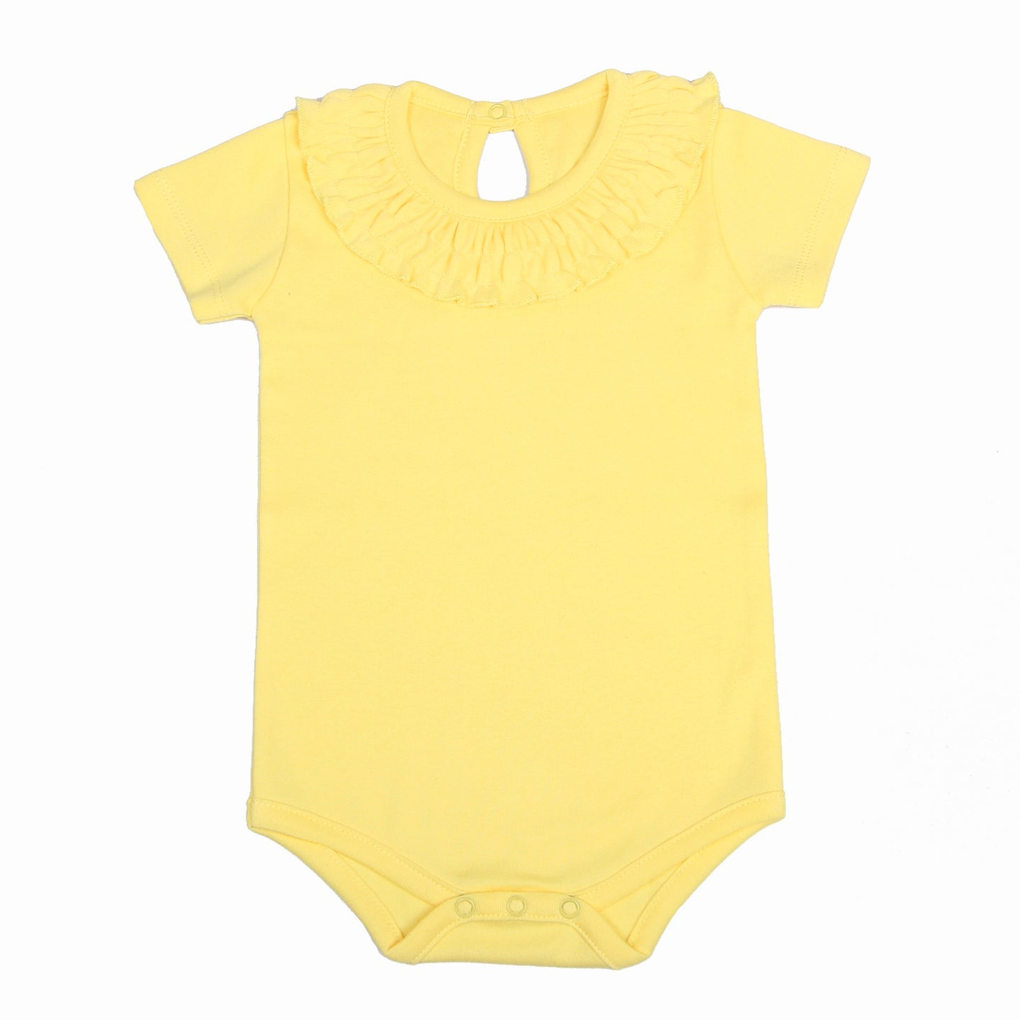 FH-5011 - Baby Girl Bodysuit/Romper - Frill On Neck Yellow Solid - Featherhead Baby
