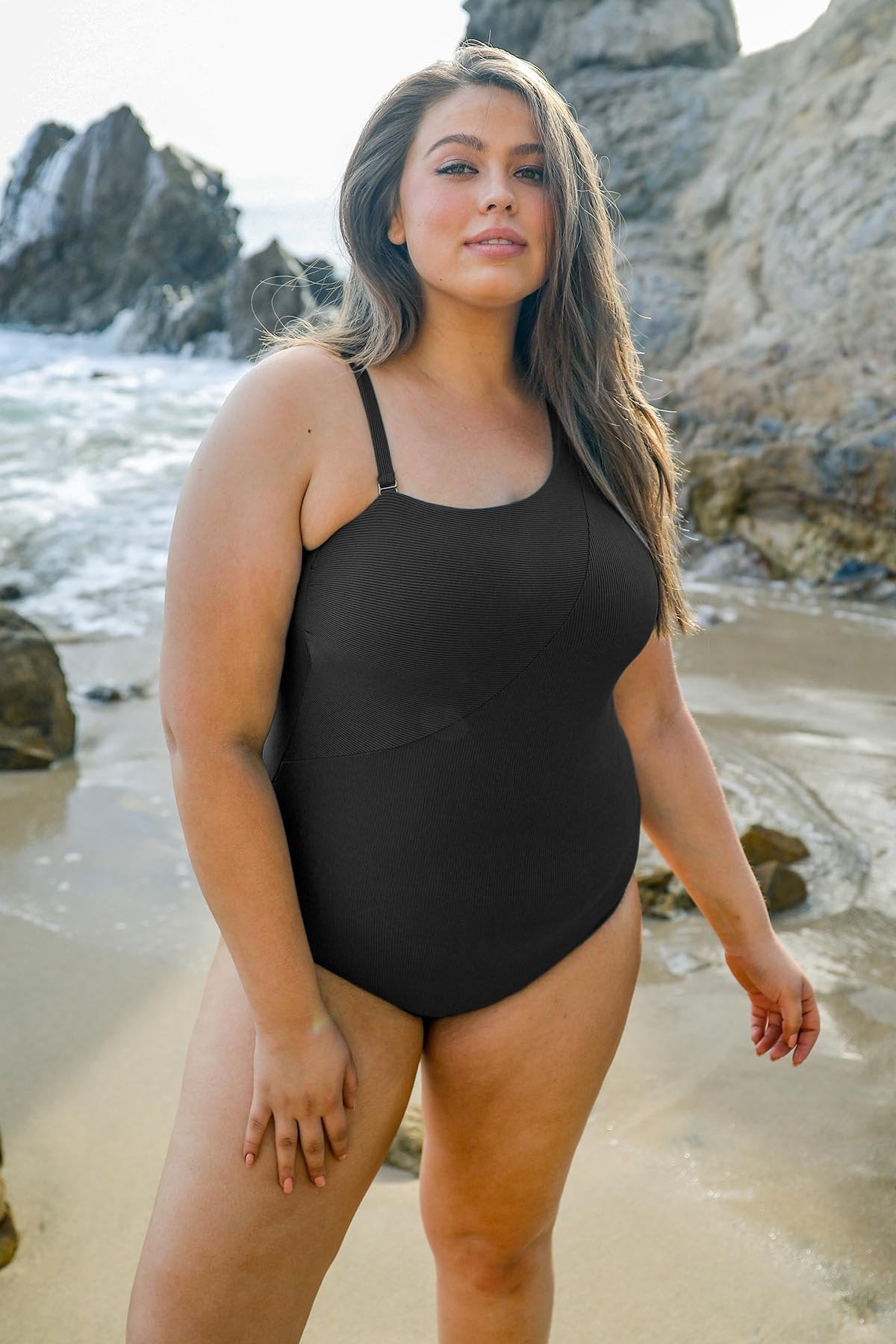 Fine Line Plus Size Asymmetrical One Piece Swimsuit