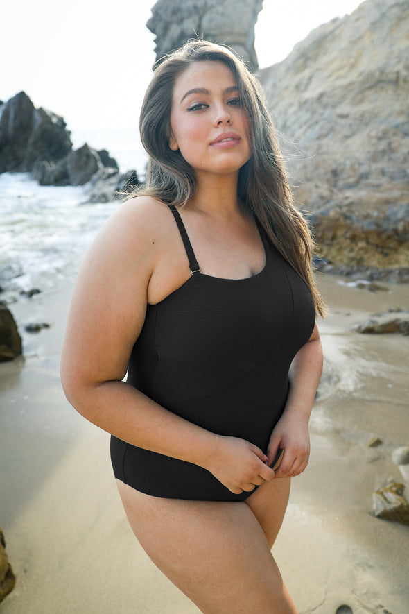 Fine Line Plus Size Asymmetrical One Piece Swimsuit - Black