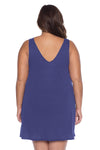 Model's back posing in the BECCA ETC Breezy Basics Women's Plus Size Plunge Neck Blue Topaz Dress